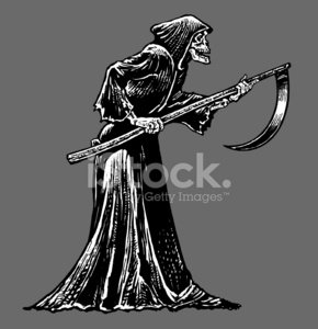 Death or skeleton with. Grim reaper clipart side view
