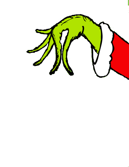 Make a hand holding. Grinch clipart broken ornament