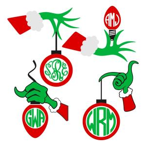Christmas hand with bulb. Grinch clipart monogram