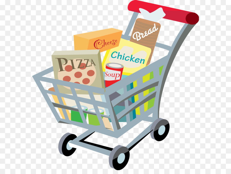 Store shopping cart supermarket. Grocery clipart