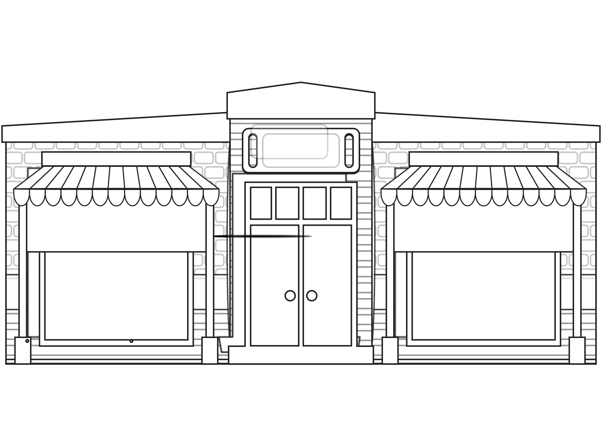 Mall clipart grocery store front. Black and white