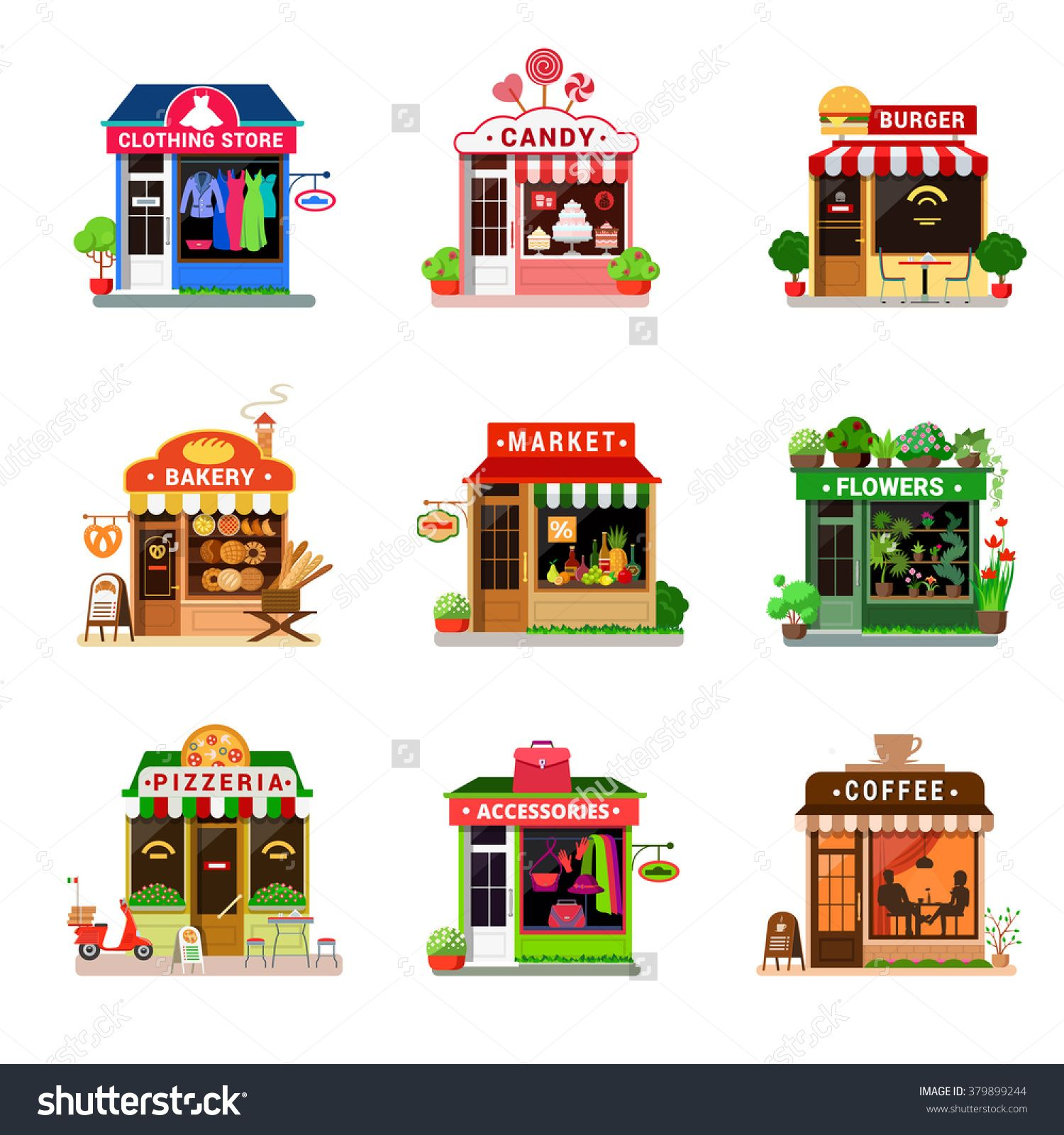 Grocery clipart cafe building. Flat style set tiny