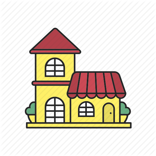 buildings filled color. Grocery clipart cafe building