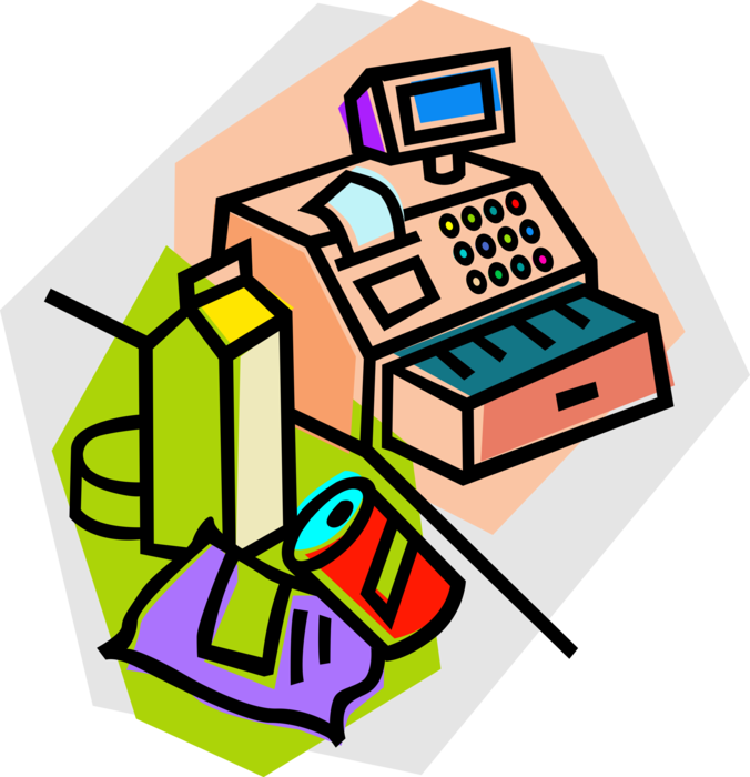 Groceries at cash register. Cashier clipart grocery shopping