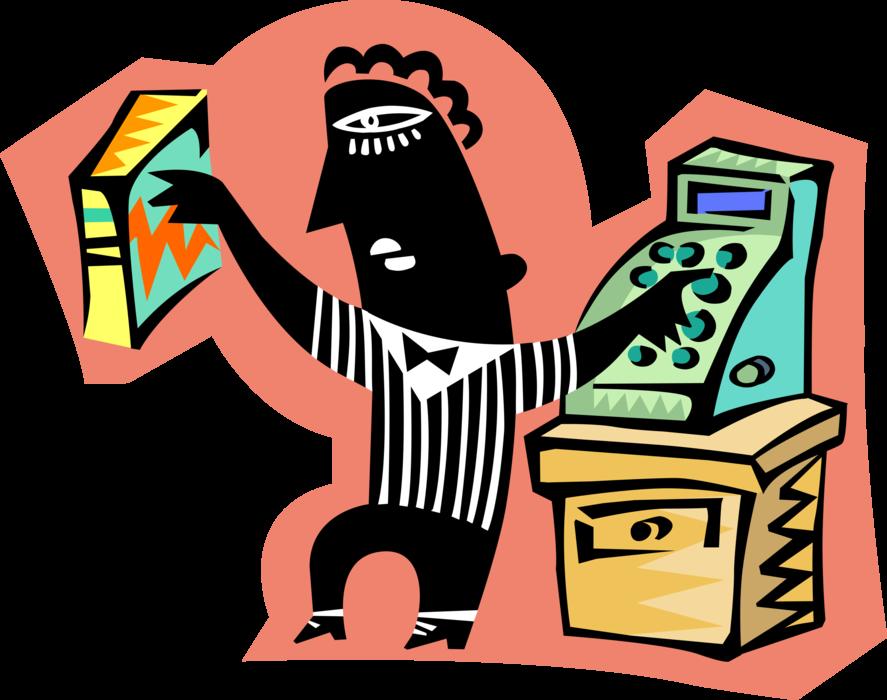 Supermarket cashier checks groceries. Grocery clipart cash register
