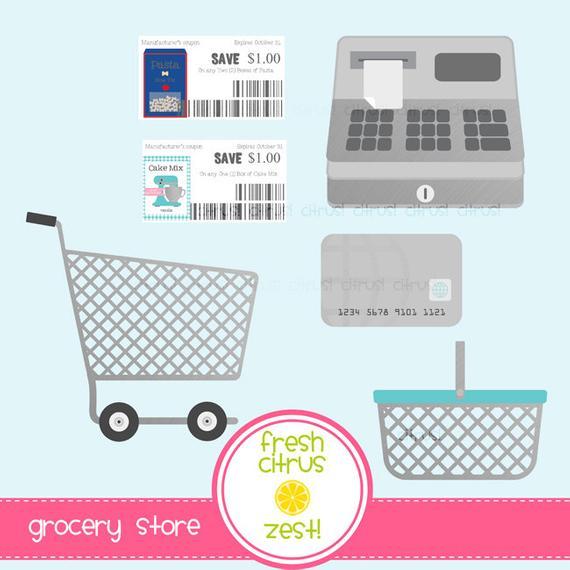 Store clip art shopping. Grocery clipart cash register