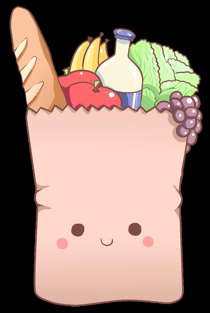 Kawaii clipart grocery. Cris garriga illustration grocerybag
