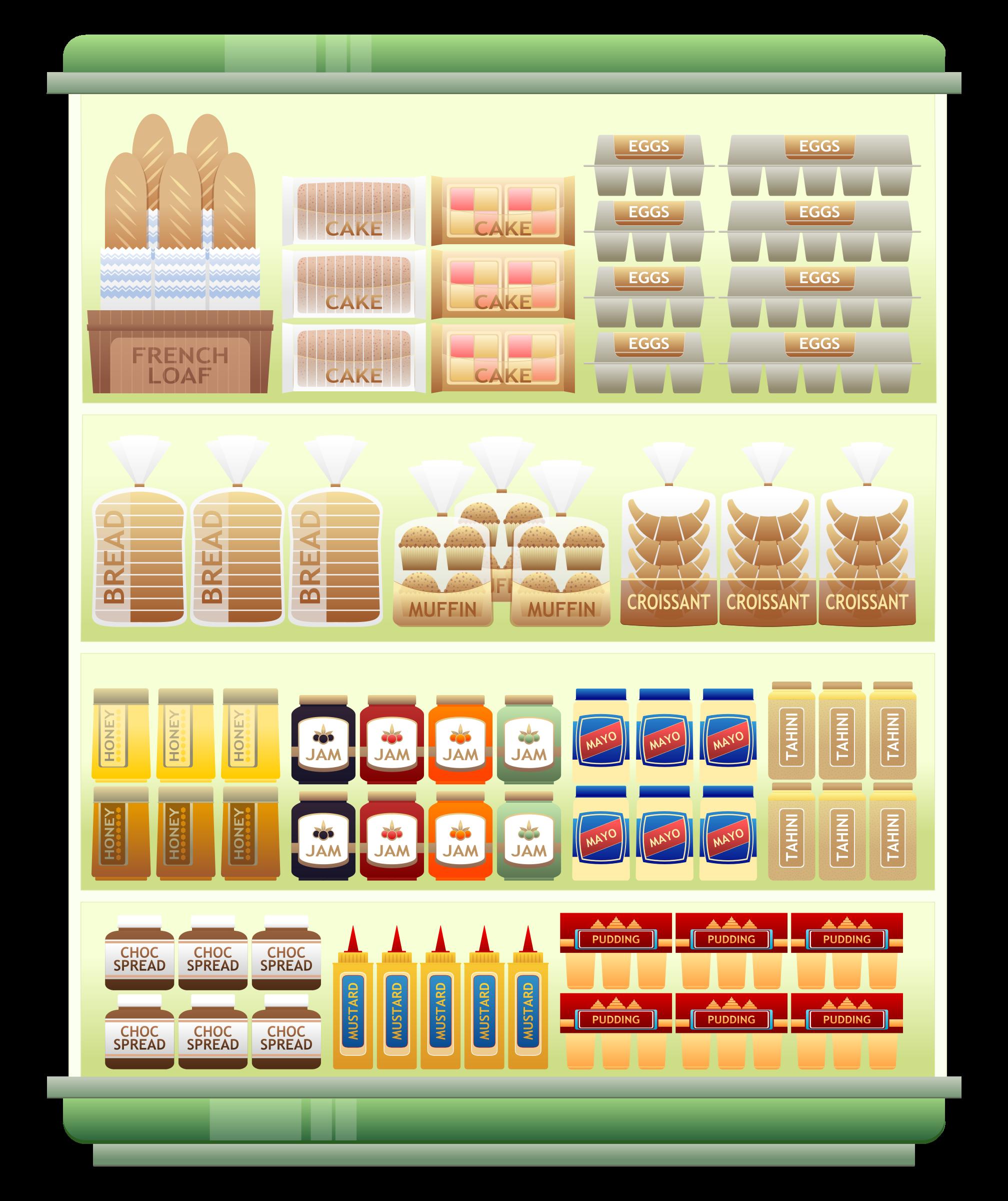 Grocery clipart logo supermarket. Goods shelf big image