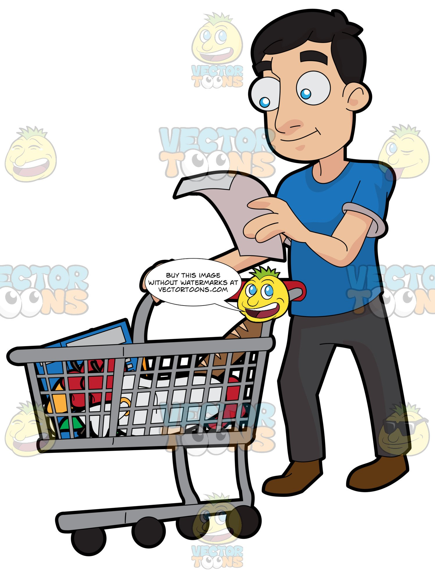 A guy checking his. Grocery clipart man