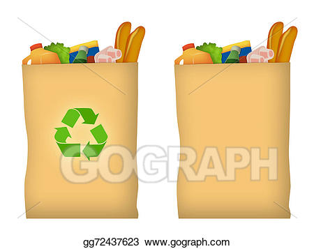 Grocery clipart recycling bag. Stock illustration drawing gg