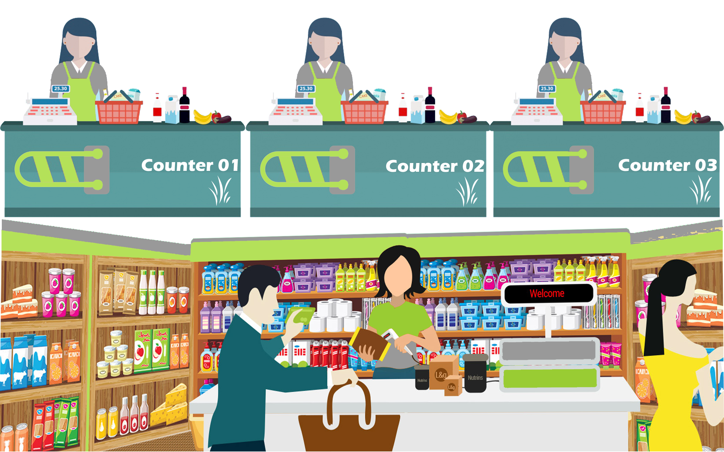 Vector Illustration - Shopkeeper with grocery stand. EPS Clipart  gg117274889 - GoGraph