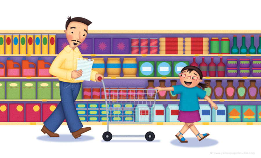 Grocery clipart shopping supermarket, Grocery shopping ... (900 x 547 Pixel)