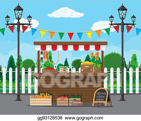 Vector illustration market food. Grocery clipart stall