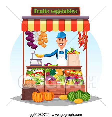 Grocery clipart stall. Vector art market counter