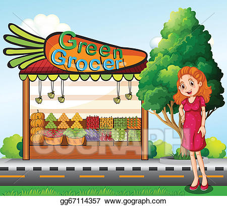 Grocery clipart stall. Vector illustration a woman