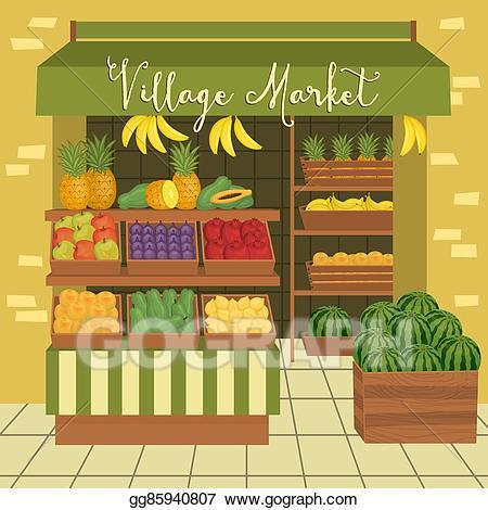 Vector illustration farmers market. Grocery clipart village shop