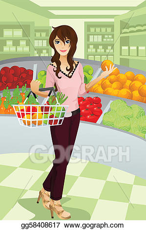 Vector art shopping eps. Grocery clipart woman