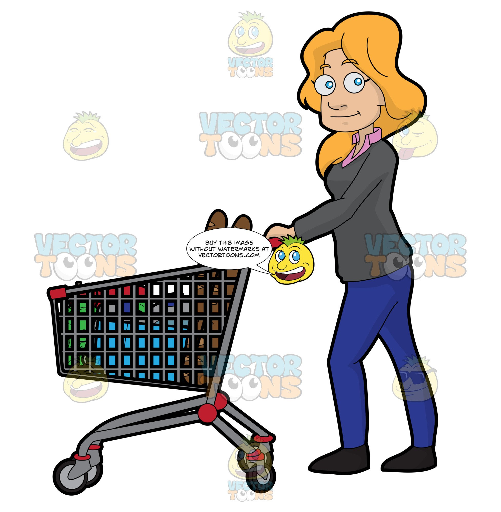 A shopping for food. Grocery clipart woman