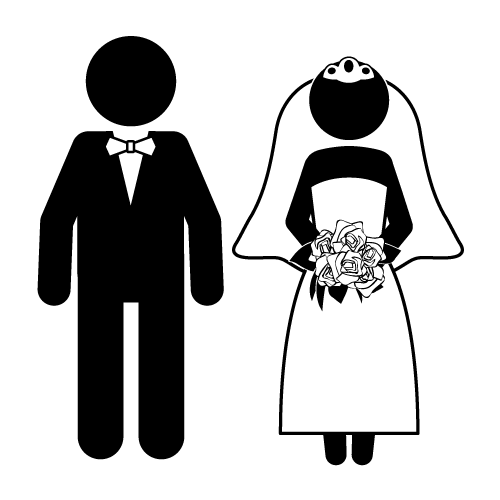 Bride and funny kid. Groom clipart