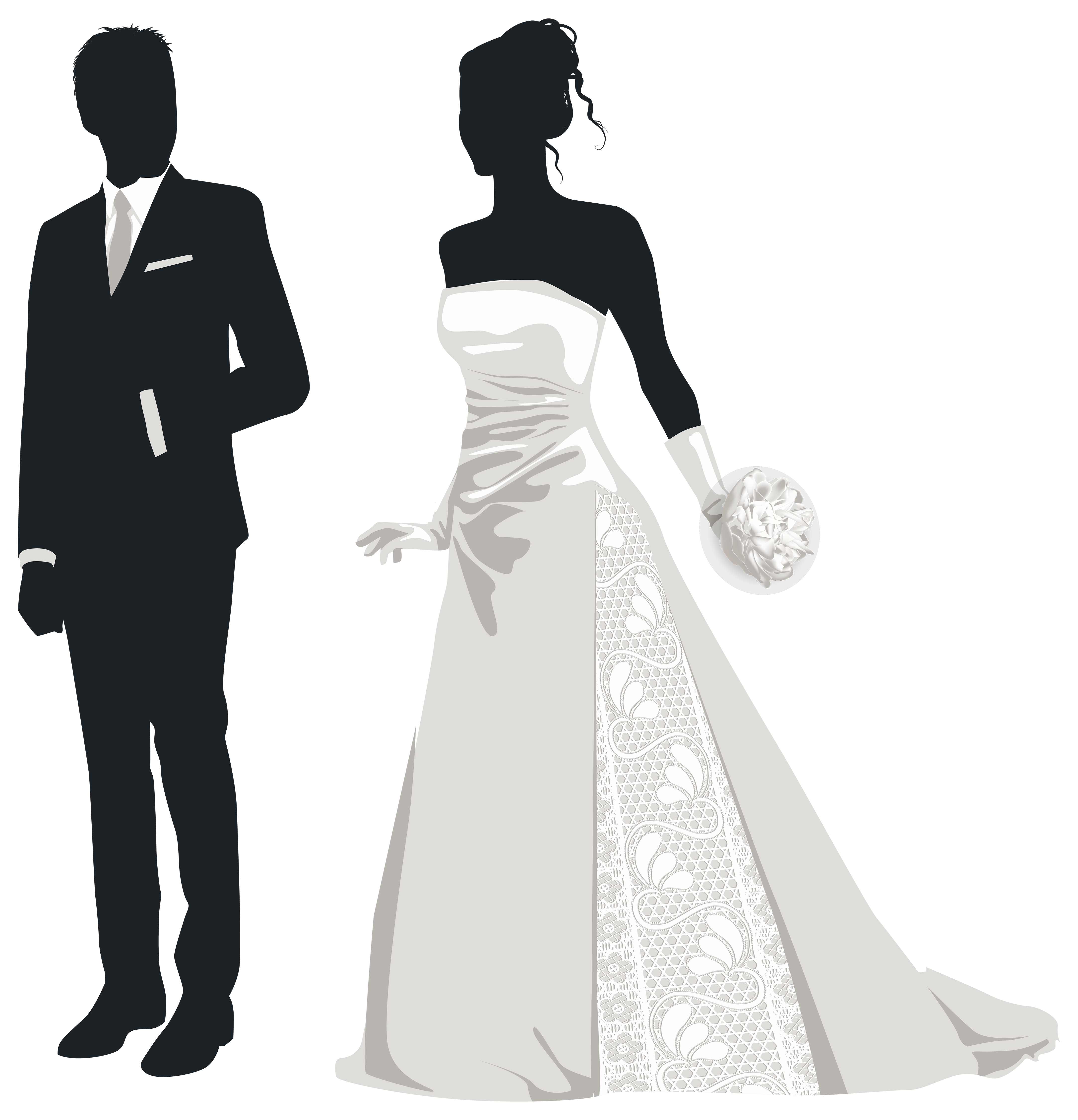 Bride and silhouettes png. Groom clipart