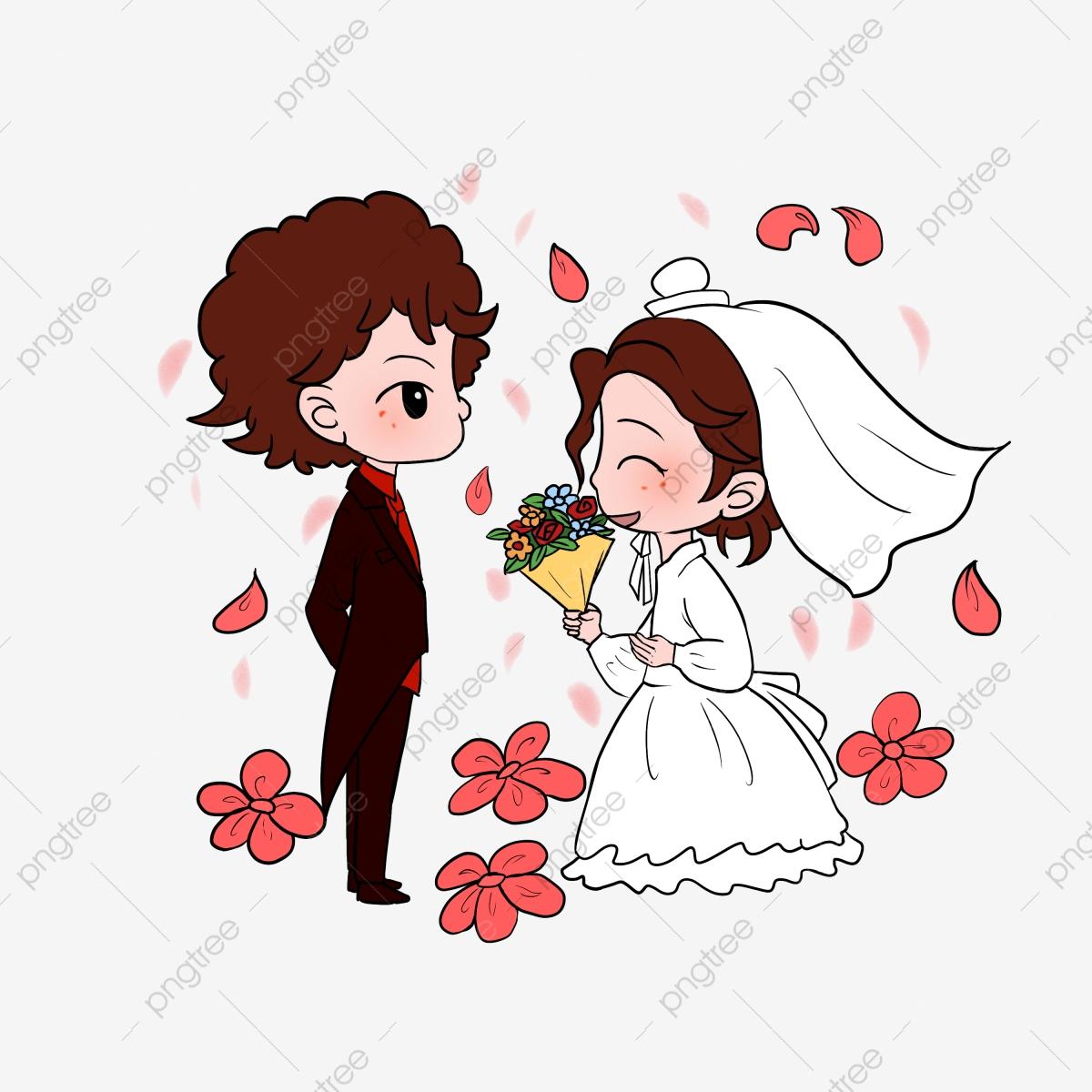 Romantic bride and illustration. Groom clipart flower