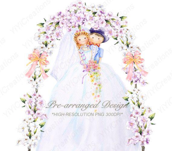 Groom clipart flower. Bride and cute wedding
