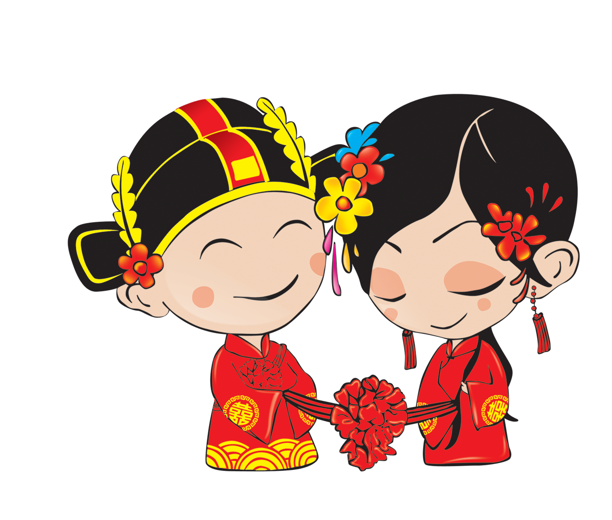 Chinese marriage download cartoon. Groom clipart marry with children