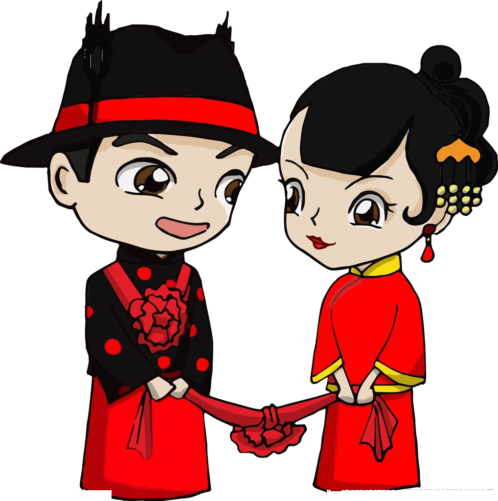 Groom clipart marry with children. Bridegroom chinese marriage cartoon