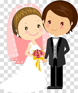 Marriage drawing married bride. Groom clipart marry with children