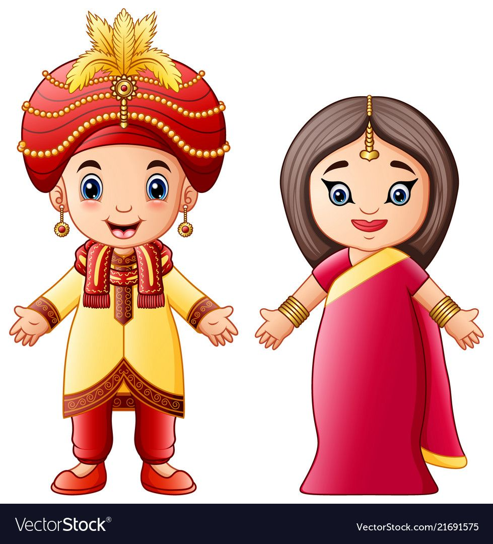 Groom clipart traditional indian. Cartoon couple wearing costumes