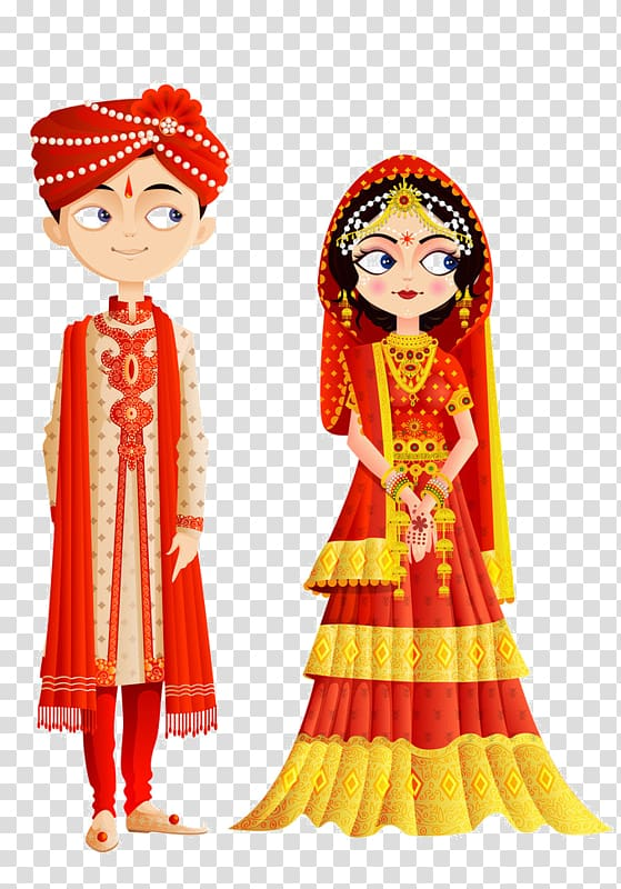 Girl and boy dress. Groom clipart traditional indian