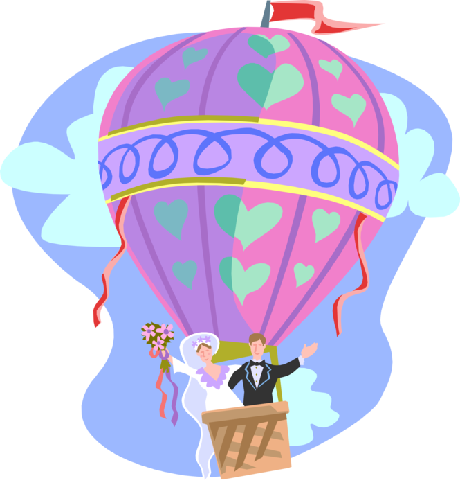 Parachute clipart air ballon. Newlywed couple in hot