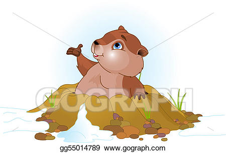 Vector art day drawing. Groundhog clipart cute