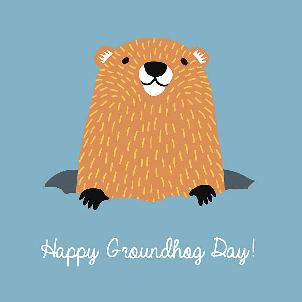 Groundhog clipart cute. Happy day coming out