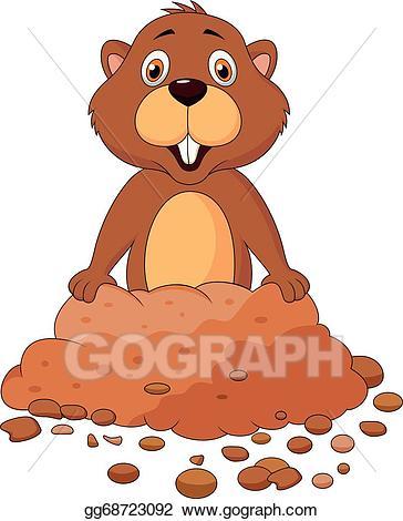 Eps vector cartoon stock. Groundhog clipart cute
