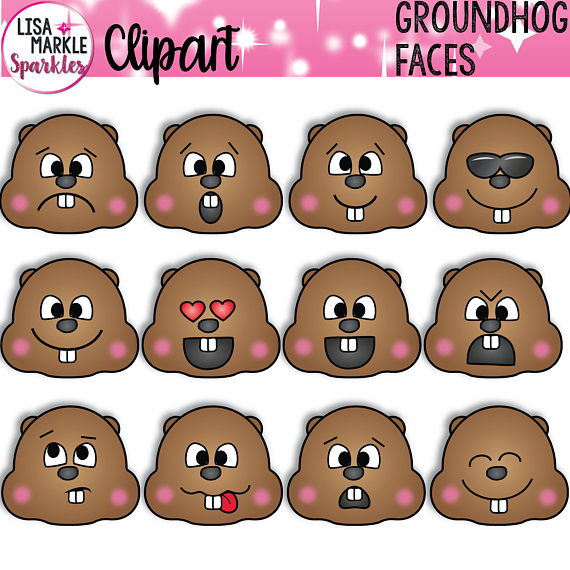 S day . Groundhog clipart face