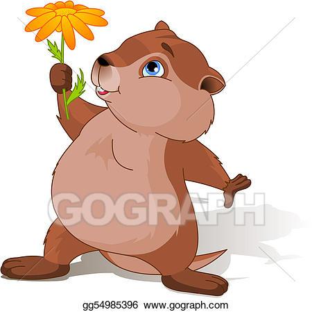 Clip art vector day. Groundhog clipart flower
