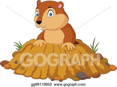 Groundhog clipart groundhog burrow. Vector illustration cartoon funny