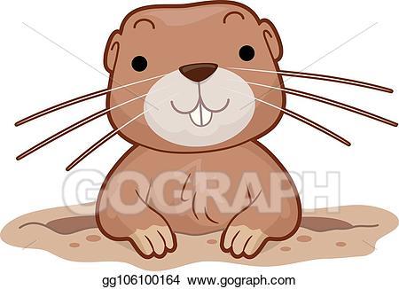 Groundhog clipart groundhog hole. Vector illustration gopher eps