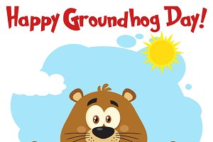 Free day station . Groundhog clipart happy