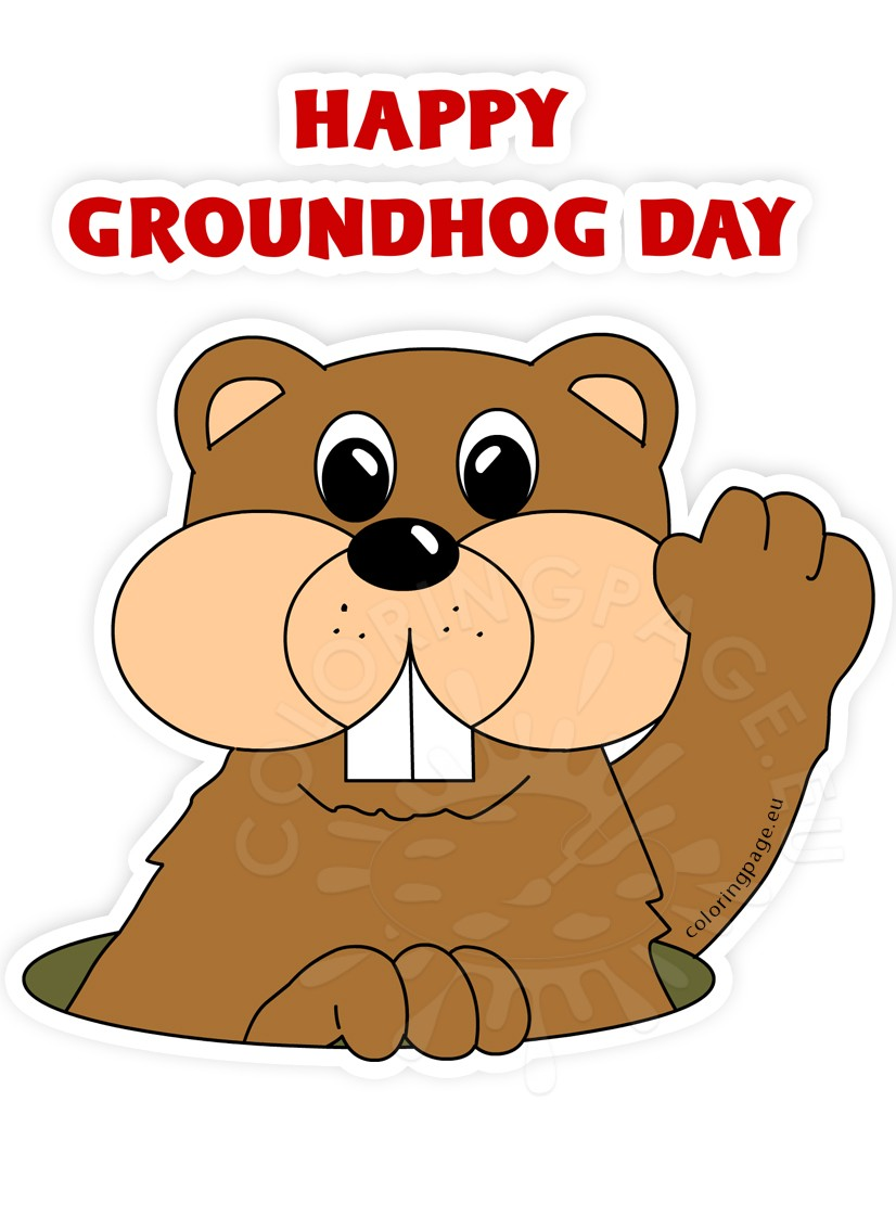 Cartoon clip art coloring. Groundhog clipart happy