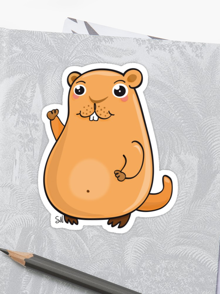 Sticker . Groundhog clipart kawaii