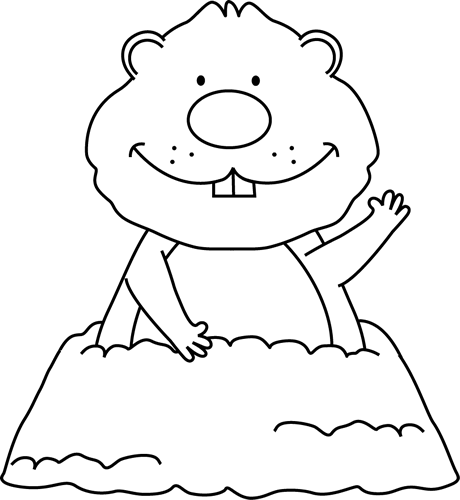 Groundhog clipart outline. Black and white decorated