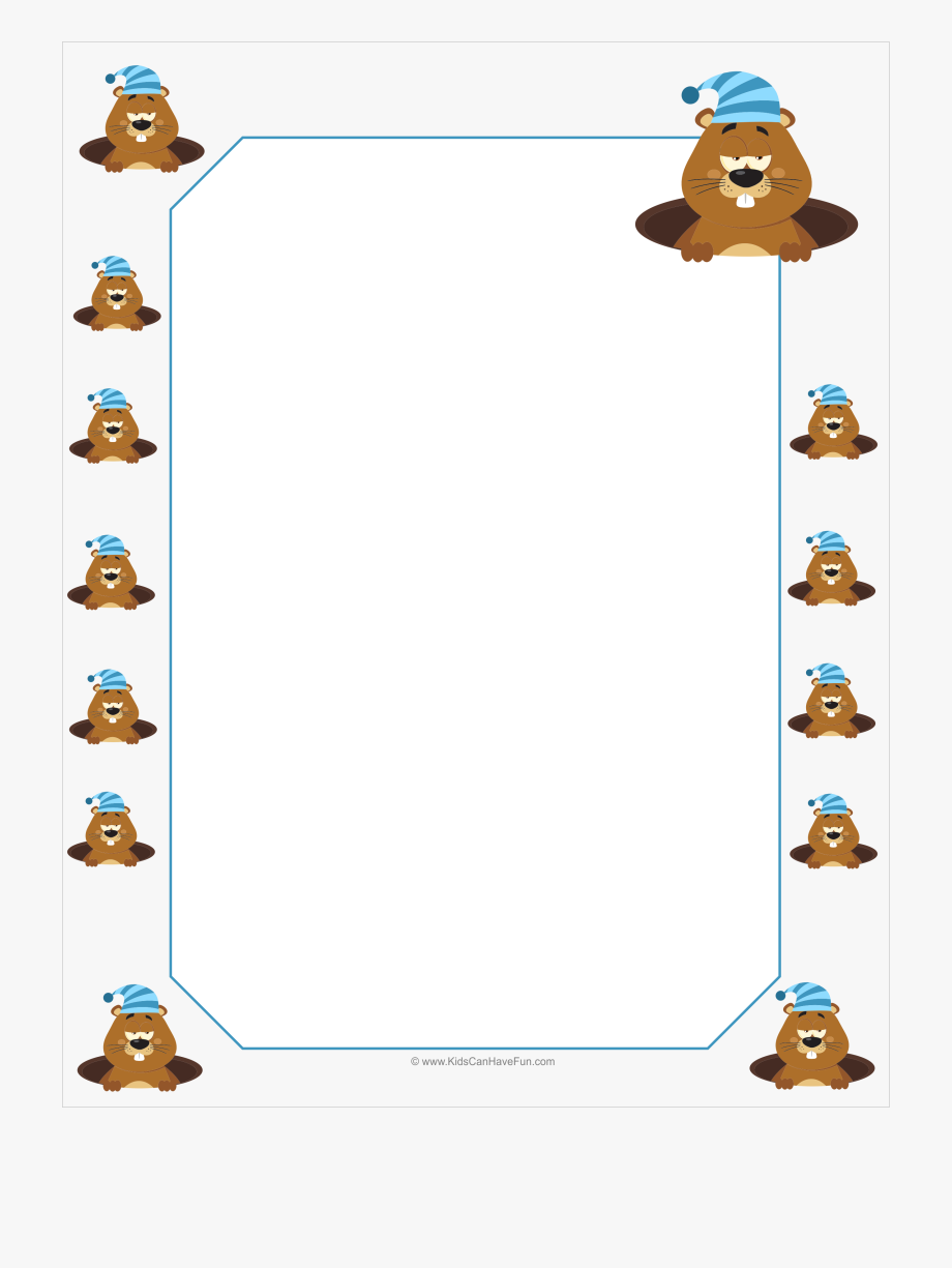 Groundhog clipart presidents day. Bordered writing paper http