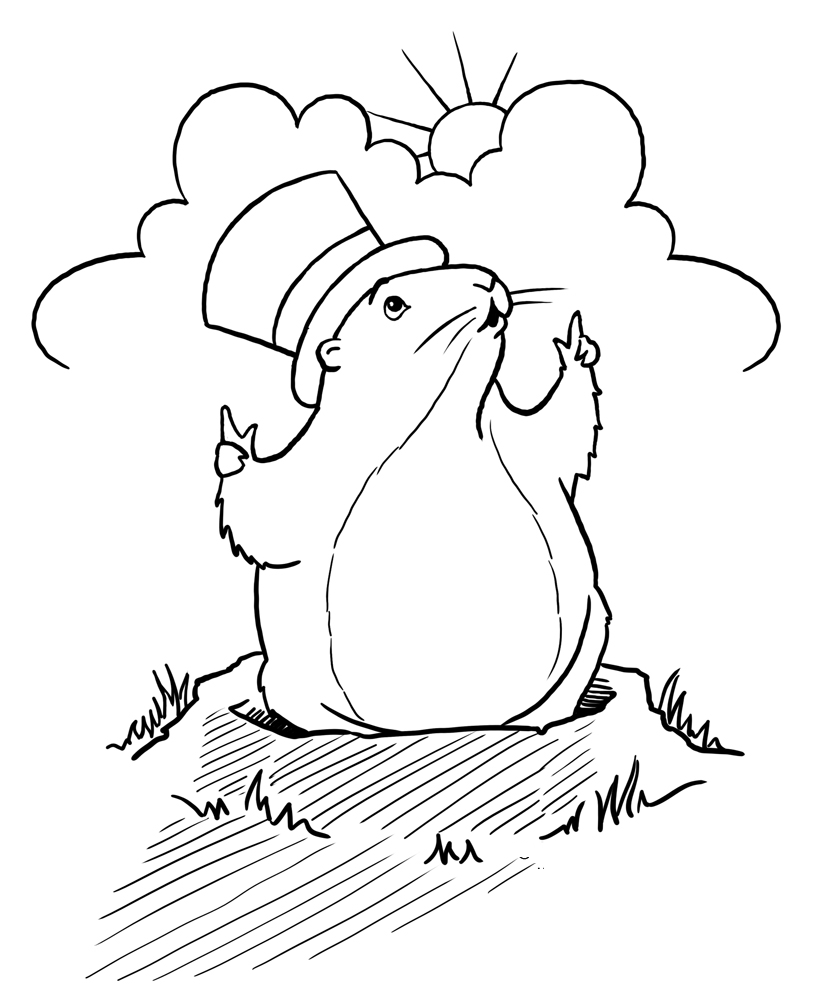 Groundhog clipart printable. Day coloring pages free
