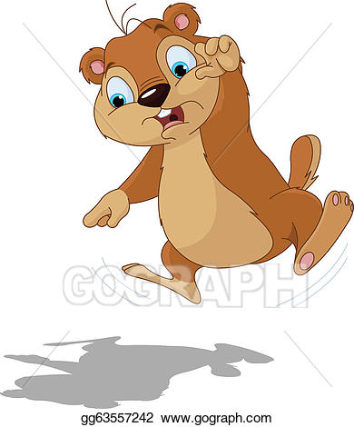 Clip art vector scared. Groundhog clipart shadow