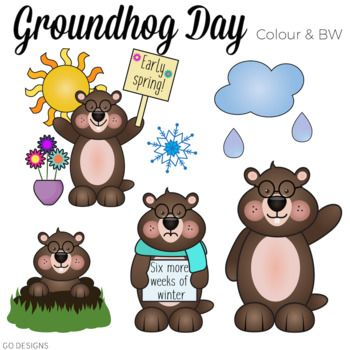 Groundhog clipart spring. Day color and black