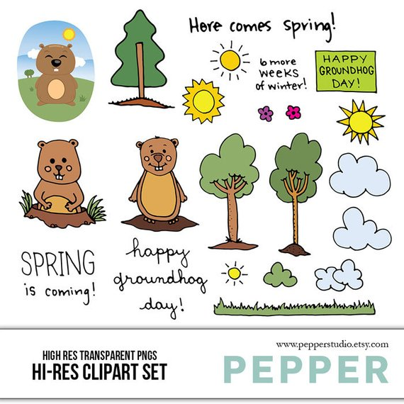 Day doodles illustrated scrapbooking. Groundhog clipart spring