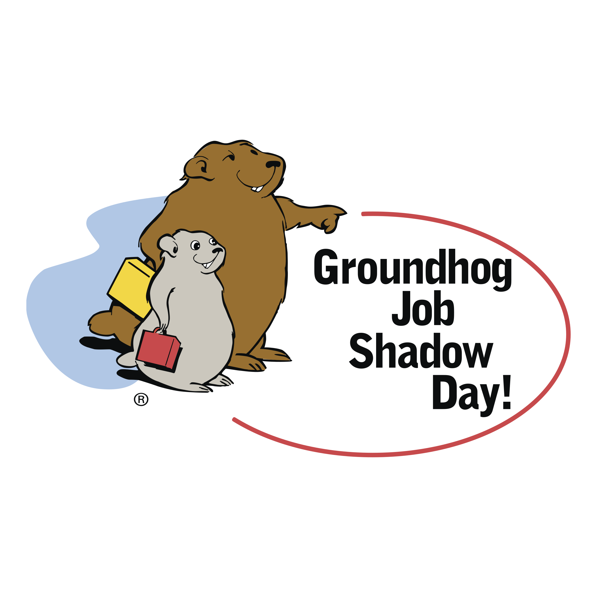 Job shadow day logo. Groundhog clipart svg