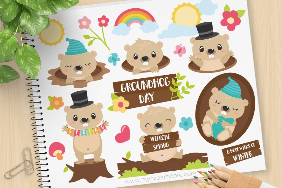 Day . Groundhog clipart svg